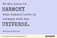 He who lives in harmony with himself lives in harmony with the universe. - Marcus Aurelius [ found at quotegeek.com ]