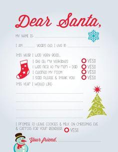 Kids Letter to Santa DIY Printable by CleverPrintables on Etsy Santa Letter Template, Santa Letter Printable, Letter To Santa, Letter Templates, Free Printable, Christmas Activities, Christmas Crafts, Christmas Traditions, Christmas Ideas