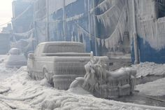 Following the 2 February 2015 7-alarm warehouse fire in Williamsburg, Brooklyn, the New York Daily News released photographs showing how the freezing temperatures turned the landscape into a frozen palace from the FDNY firefighting efforts.