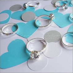 Party #Confetti, #TiffanyInspired, Hearts And Engagement Rings, Bridal Shower, Table Confetti by Jaclyn Peters Designs