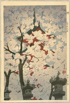 KASAMATSU Shiro(笠松紫浪 Japanese, 1898-1991?) Cherry and Toshogu in Ueno 櫻 上野東照宮 Woodblock print via