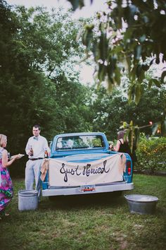 love the vintage truck at this sweet celebration! | Angela Cox