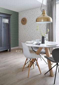 ESTAhome behang terrazzo wit, zacht roze, mintgroen, donkergroen en Scandi Style, Interior S, Vinyl, Cool Wallpaper, Decoration, Pattern Design, Kitchen Decor, Sweet Home, Terrazzo