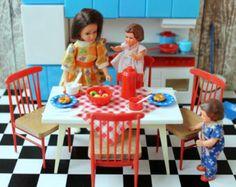 Vintage Plastic Vero DDR Germany Dollhouse Kitchen Furniture Stove Pots Food 1/12 scale