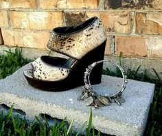 Wedge Chucky Snakeskin High Heel Shoes Trendy Open-Toe  | Clothing, Shoes & Accessories, Women's Shoes, Heels | eBay!