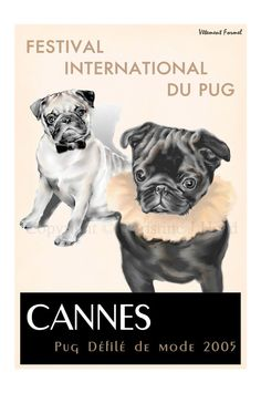 Pug Art Print Cannes: International Pug Dog Festival s/n Limited. $95.00, via Etsy.