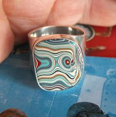 Fordite Sterling Hammered Ring Size 8 1/2 Wide. by jamesblanchard