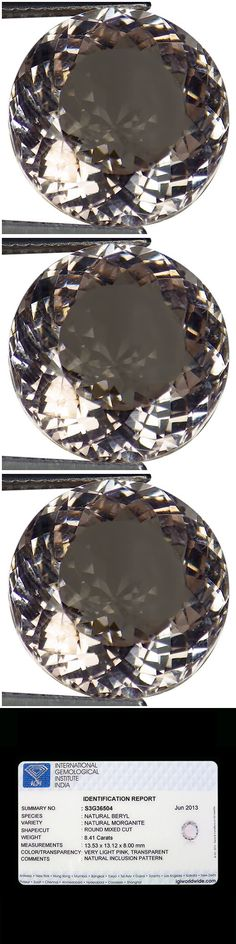 Beryl 110789: 8.41 Ct Igi Certified Natural Unheated Morganite Very Light Pink Round Cut -> BUY IT NOW ONLY: $499.99 on eBay!