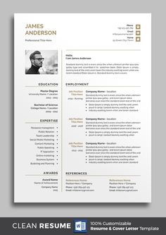 Buy Resume by on GraphicRiver. Professional Resume/cv template to help you land that great job. Basic Resume Examples, Professional Resume Examples, Simple Resume, Modern Resume Template, Resume Template Free, Free Resume, Resume Cv, Microsoft Word Resume Template, Cv Unique