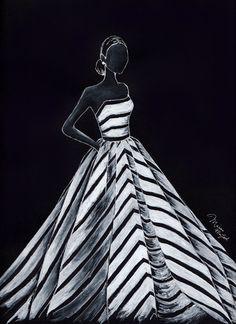 Fashion Illustration: Oscar de la Renta Gown by DallyCreativityCo