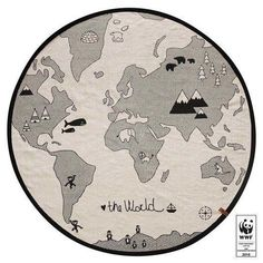 Free shipping! OYOY's The World Rug is Scandinavian design for children at its finest. It features a simple round map of the world in clean monochrome.