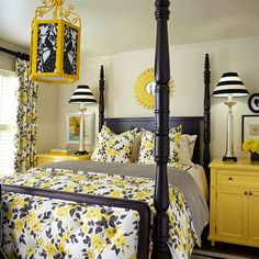 Traditional Black And Red Bedroom Design Ideas Pictures Remodel And Decor Grey Bedroom Decor Yellow Bedroom Blue Yellow Bedrooms
