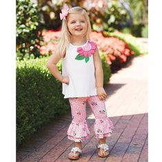 Rose Tunic And Capri Set by Mud Pie with a very cute open back. That picture  wouldn't  let me pin