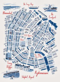 William Grill, Map of Amsterdam. Editorial for Swiss lifestyle magazine - Die Weltwoche Gravure Illustration, Travel Illustration, Amsterdam Map, Amsterdam Netherlands, Bel Art, Map Projects, Map Globe, Map Design, City Maps