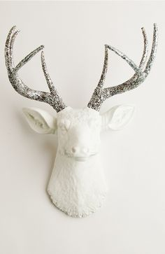 The Weston White faux deer head wall mount with silver glitter. Resin stag animal head decor and wall art by White Faux Taxidermy.