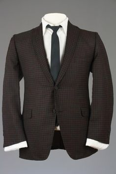 Vintage 60s Hart Schaffner Marx Brown/Black Plaid Blazer/Jacket 42 S Monkey Suit
