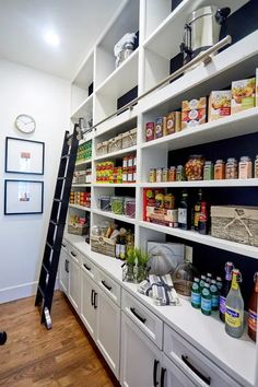 Kitchen Pantry Design, Kitchen Pantry Cabinets, Kitchen Appliances, Kitchen Ideas, Diy Kitchen, Kitchen Decor, Long Kitchen, Kitchen Counters, Kitchen Islands