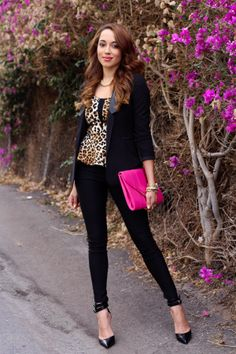 Charlotte Russe Outfit  |  A chic, yet wild #outfit created with a black jacket, leopard top, black pants and bright pink clutch from Charlotte Russe.