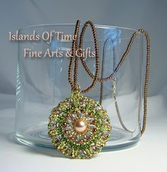 Light Green Rose Gold Swarovski Crystal Pearl Pendant Necklace 22"