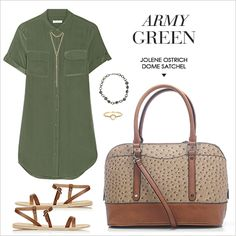 Army green: the epitome of Fall. Wear it with our ostrich skin Jolene Dome Satchel