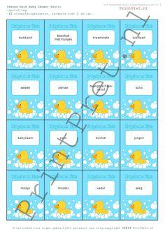 Babyshower afbeeldingskaartjes met eendje voor het spelletje Hints. http://printpret.nl/Baby%20Shower%20Duck%20Pakket/Baby%20Shower%20Duck