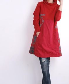 If Red loose Long dress by MaLieb on Etsy, $68.00