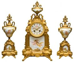 Three Piece French Mantel Clock | Montgomery Antiques and Interiorswww.montgomeryantiquesandinteriors