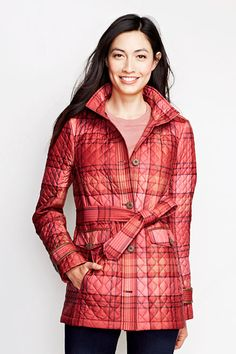 Women's Quilted PrimaLoft Parka - Plaid from Lands' End ($80)