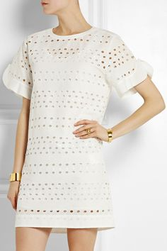 Broderie Anglaise mini dress See by Chloe Fall Fashion Outfits, Autumn Fashion, Women's Fashion, Fierce Women, White Mini Dress, See By Chloe, Cotton Lace, Short Sleeve Dresses, Bridesmaid Dresses