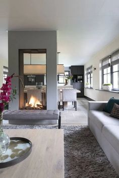 Home living room, living room decor, home fireplace, fireplaces, modern Home Fireplace, Modern Fireplace, Fireplace Design, Fireplace Ideas, Fireplace Hearth, Dining Room Fireplace, Fireplaces, Living Room Modern, Home Living Room