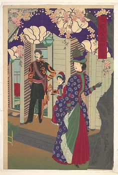 View of Flowers Blossoming in Ueno Park Toyohara Chikanobu (Japanese, 1838–1912). Possibly shibori dress.