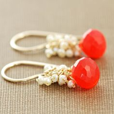 Coral & gold earrings.