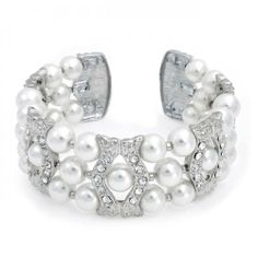 Bling Jewelry White Faux Pearl Waved Crystal Bridal Cuff Bangle Bracelet