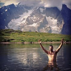 Hiking and backpacking the Tour du Mont Blanc, France. This is a section of the French Alps shortly before crossing the Italian border. Couldn't resist a dip in this alpine lake with some Spanish friends!