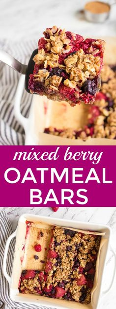 Mixed Berry Baked Oatmeal Recipe: Easy berry oatmeal bars for a healthy breakfast, after school snack idea, and great kid friendly food! Healthy breakfast on the go, good for a toddler breakfast idea, too! Mixed berry baked oatmeal bars. via @dessertfortwo