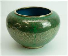 Vintage Fine Wire Chinese Bronze Cloisonne Bowl Vase Green enamel #Cloisonne