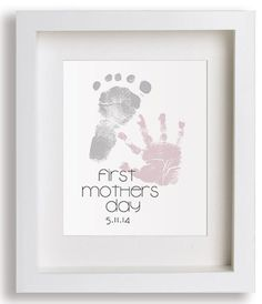 "First Mother's Day Gifts for Her:  Personalized ""First Mother's Day"" Art Print with Hand and Foot Prints by Pitter Patter Print @ Etsy"