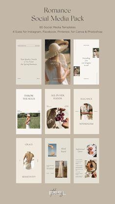 Romance Social Media Pack Kit Bundle Canva & PS / Instagram Posts Stories Templates / Download Now Social Media Template, Social Media Design, Social Media Graphics, Design Websites, Feeds Instagram, Instagram Posts, Post Design, Instagram Design, Layout For Instagram