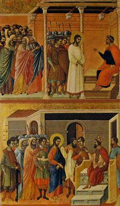"""""""CRISTO DAVANTI A PILATO E AD ERODE"""". Duccio di Buoninsegna, tempera su tavola nel 1308-11, 100 x 57 cm. ed è custodito nel Museo dell'Opera del Duomo di Siena.  """"Erode gli  rivolse molte domande, ma Gesù non gli rispose nulla... Erode, con i suoi soldati, dopo averlo vilipeso e schernito, lo vestì di un manto splendido, e lo rimandò da Pilato.   In quel giorno, Erode e Pilato divennero amici; prima infatti erano stati nemici"""".  Luca 23:6-12"""