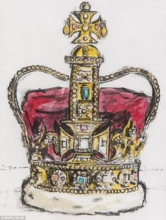 The Royal Crown: Guarded by the Beefeaters in the Tower of London, the Crown Jewels are seen by millions of people each year King Crown Drawing, Crown Painting, London Illustration, Kings Crown, Anime Drawings Sketches, Crown Royal, Bible Art, Art Challenge, Crown Jewels