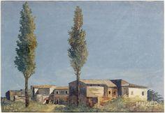 Pierre-Henri de Valenciennes (Fr. 1750-1819), A la Villa Farnese : les deux peupliers, 1785, huile sur toile, 23,5 x 37,8 cm, musé...