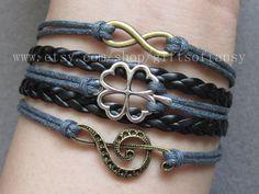Infinity bracelet, Clover Bracelet, music note bracelet, Lucky bracelet,gray wax cord and black braid bracelet,Friendship Gift -EA09 on Etsy, $7.82 AUD