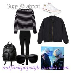 """""""suga"""" by koreanstyles-outfits ❤ liked on Polyvore featuring MANGO, Converse and Monki"""