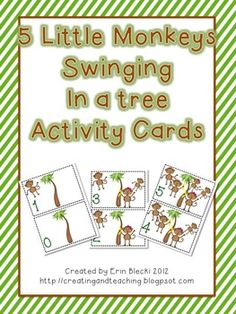 Here are some activity cards to go with the song 5 Little Monkeys Swinging in a Tree. The cards count down from number 5 to 0!