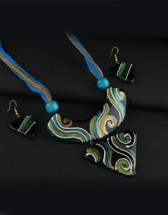 Blue Colour Gold Finish Styled With Design Terracotta Pottery Necklace