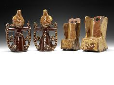 Two country pottery bird whistles and two rocking chairs, mid 19th century