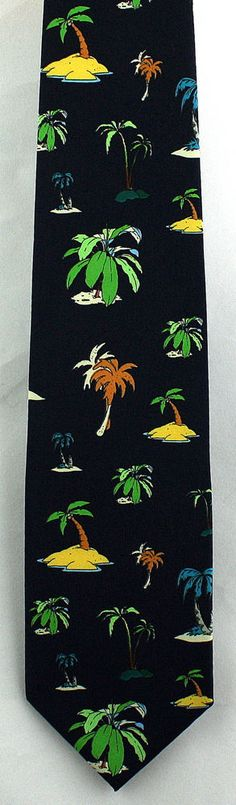 New Swaying Palms Mens Necktie Palm Trees Tropical Tree Vacation Travel Neck Tie #Parquet #NeckTie