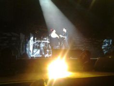 Boxen Herning/DK 23.11.2013  Me and Michael Poulsen on stage, he signed one of my Volbeat Tattoos