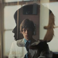 Mick and reflection in the glass.