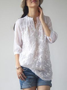 Buy Blouses & Shirts For Women at PopJulia. Online Shopping White Long Sleeve Embroidered Floral Organza Blouse, The Best Blouses & Shirts For Women. Casual Wear, Casual Outfits, Dress Casual, Casual Chic, Casual Shirts, Boho Chic, Vetements Clothing, Outfit Trends, Mode Style